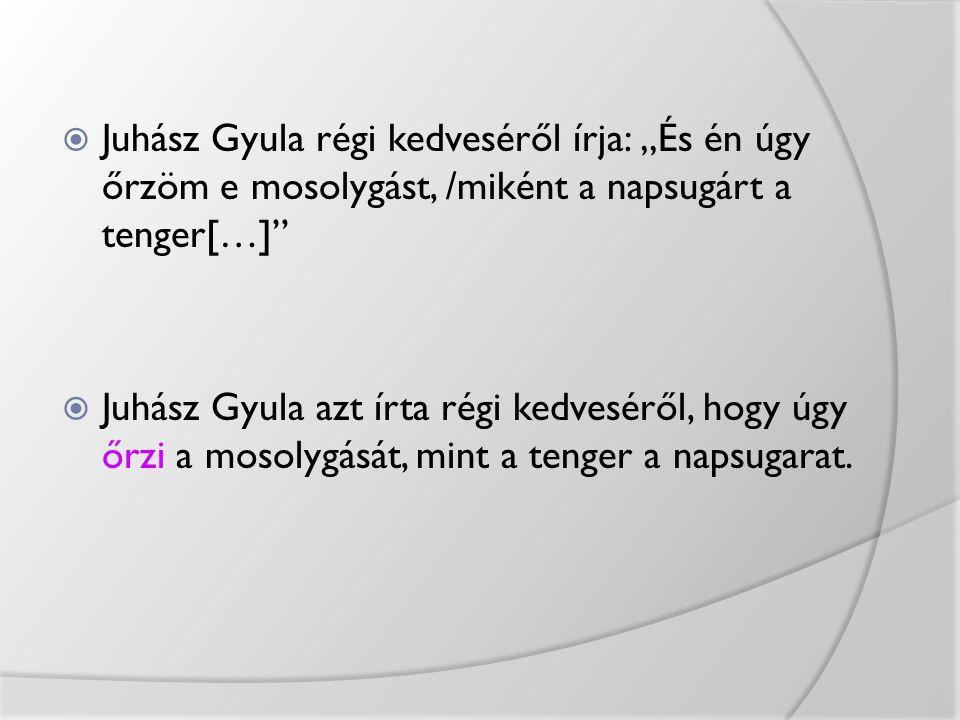 """Juhász Gyula régi kedveséről írja: """"És én úgy őrzöm e mosolygást, /miként a napsugárt a tenger[…]"""
